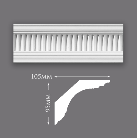 Medium Ribbed Cove Plaster Cornice