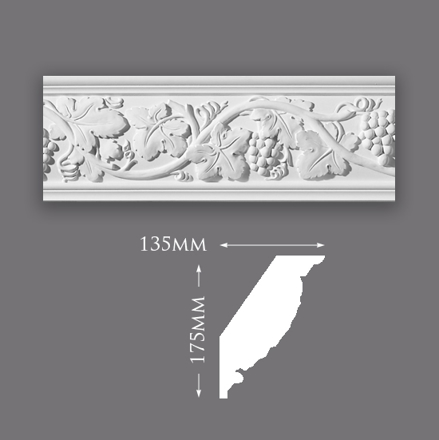Early Grape Vine Plaster Cornice
