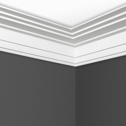 Contemporary Step Cornice in situ C0162