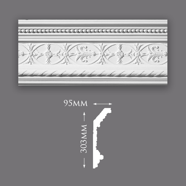 Picture of Sample - Ornate Reed & Ribbon Plaster Cornice