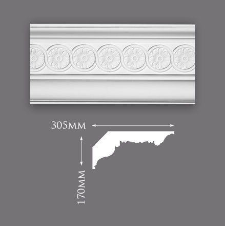 Picture of Sample - Beaumont Patterned Plaster Cornice