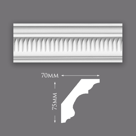 Picture of Sample - Small Ribbed Cove Plaster Cornice