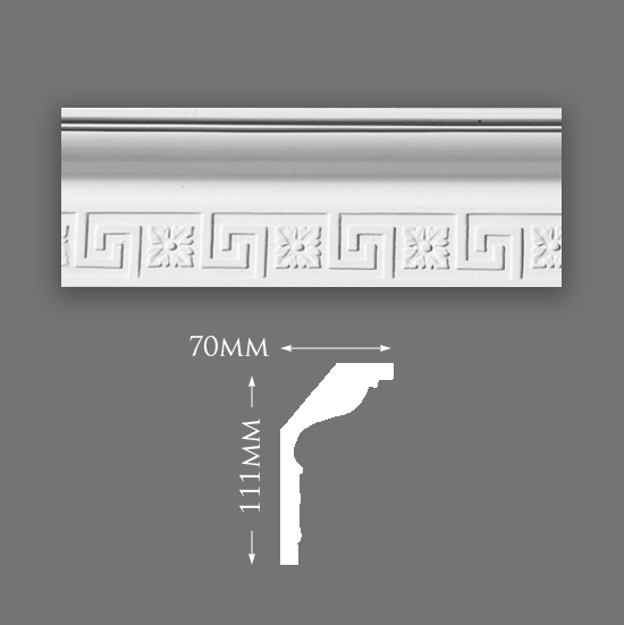 Picture of Sample - Greek Key With Large Motif Plaster Cornice