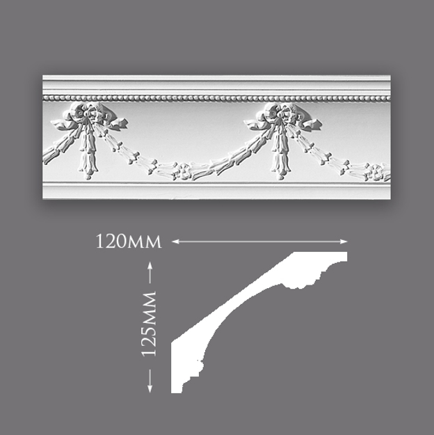 Picture of Sample - Swag & Drop with Ball Plaster Cornice