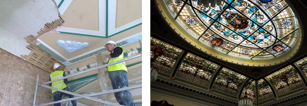 restoration and matching fibrous plaster decorations