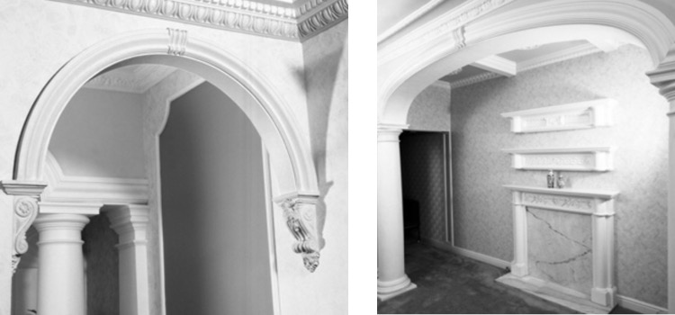 plaster corbelled arch and wide plaster arch